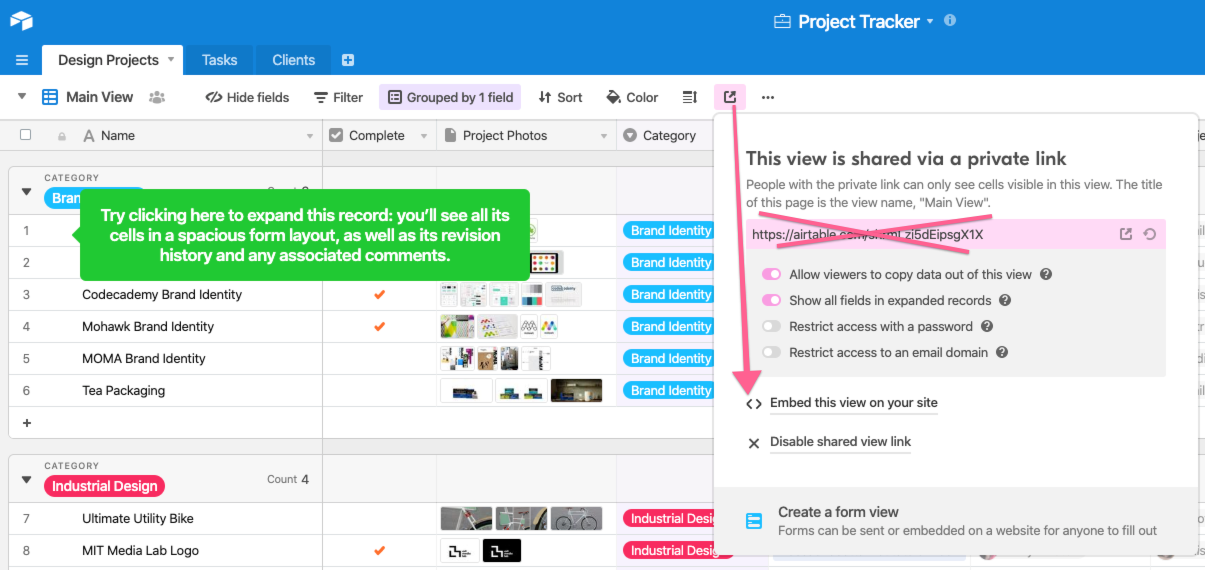 press on the share view button to find the embed code