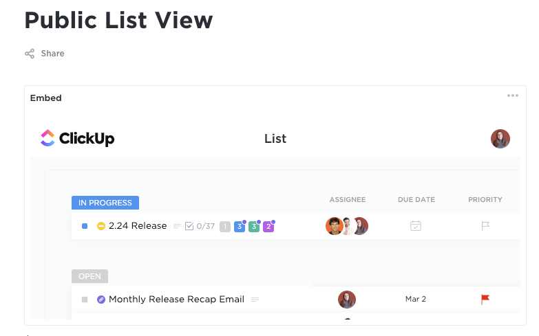 An image of a publicly embedded List view