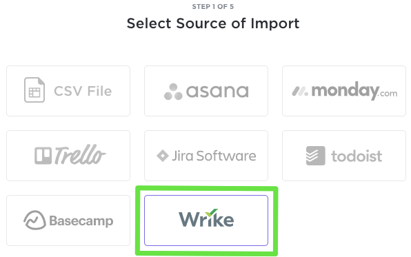 Import menu of ClickUp showing where you select Wrike.