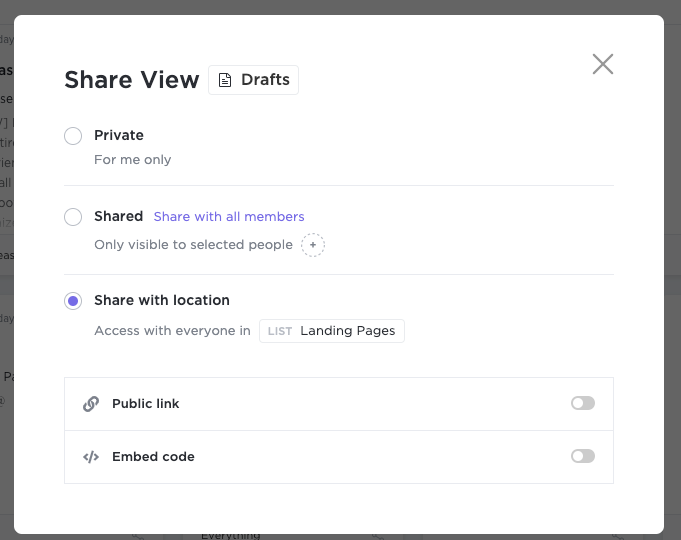 Share view settings for Docs