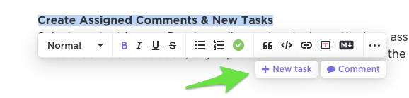 Arrow pointing to New Task or Comment options when text in a Doc is highlighted