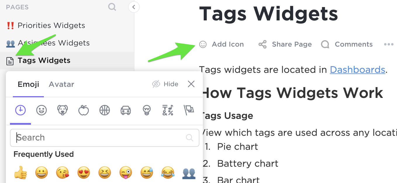 Arrow showing where to add an icon that shows next to page titles