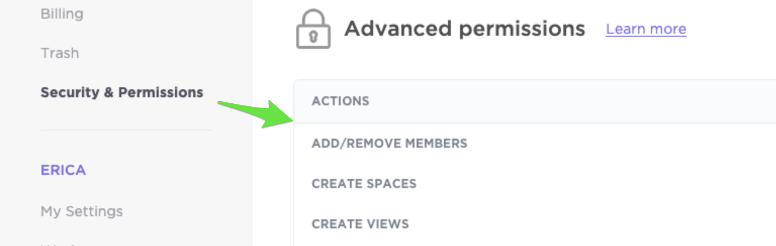 Advanced permissions section of the Security & Permissions page