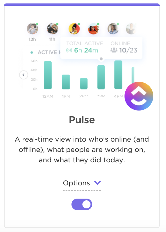 Toggle on the Pulse ClickApp in the ClickApps section of your Workspace