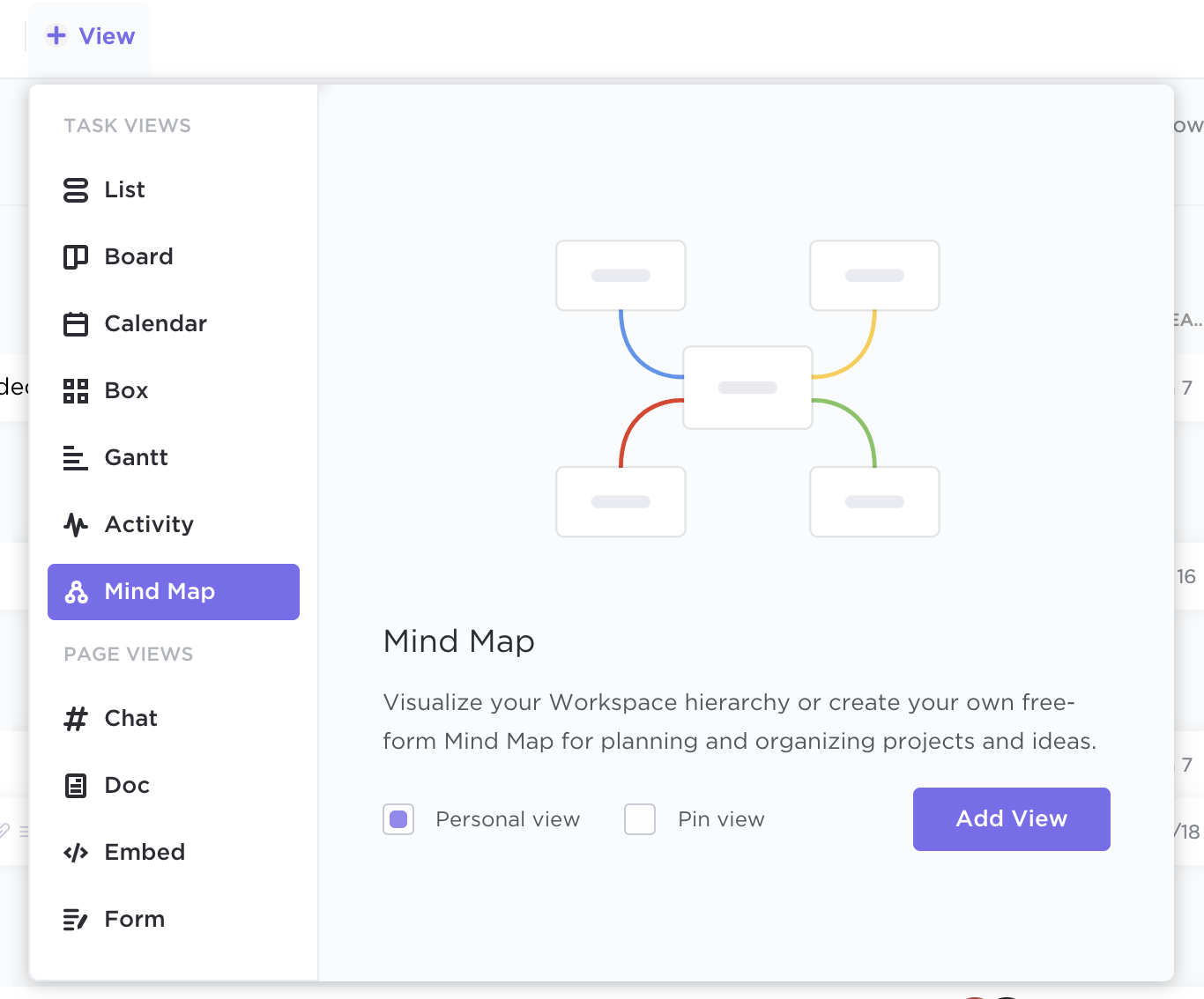 how to add a mind map view