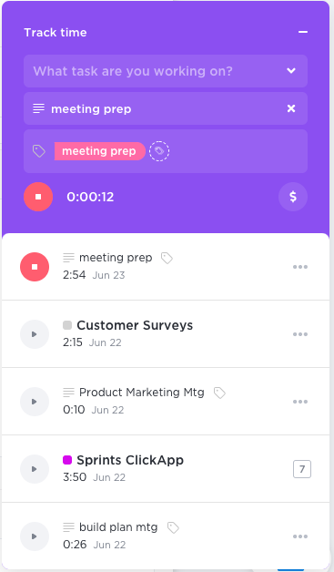 picture showing how to track time on tasks