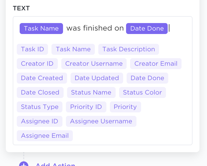 Write the message you want to send once the Automation triggers