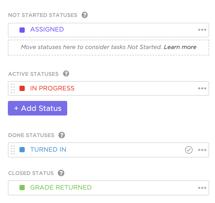 example of custom statuses with the Done status option
