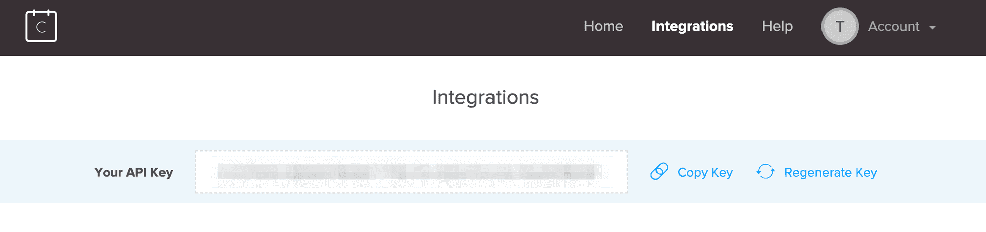 Photo of the API key found with Calendly's integrations page