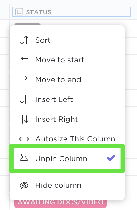 Pin and unpin a column in Table view