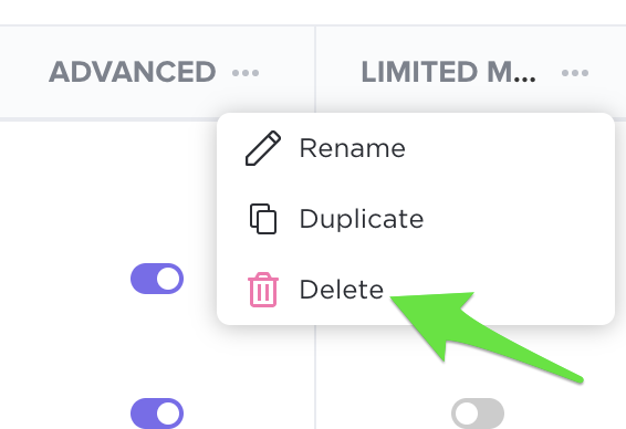 Delete a custom role by clicking the ellipsis and selecting delete