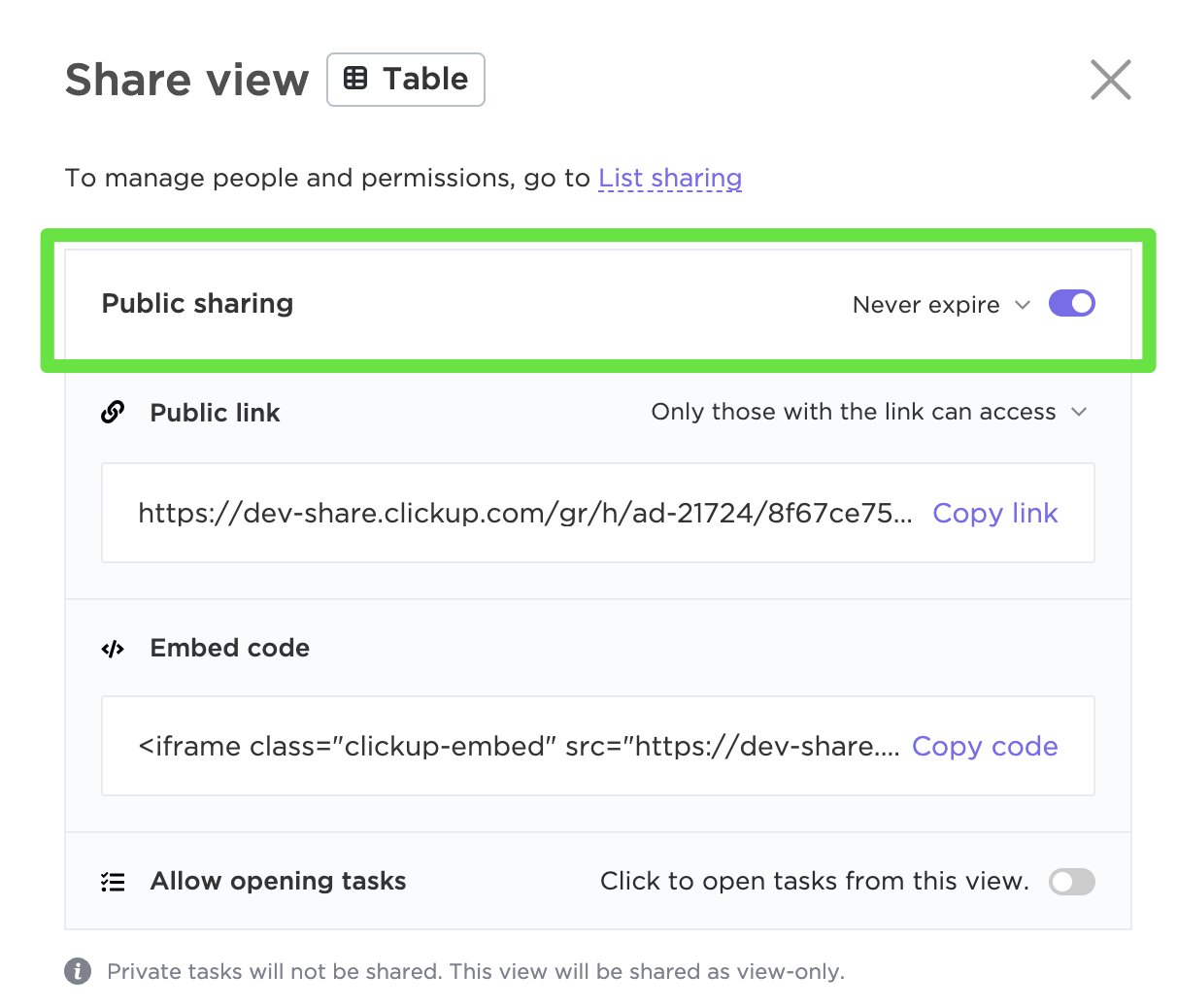 Publicly share Table view with the public sharing link