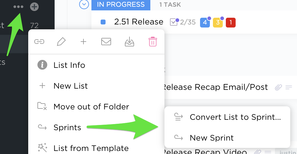 Selecting the Ellipses in the ClickUp sidebar will allow you to quickly view all Sprints in a location.