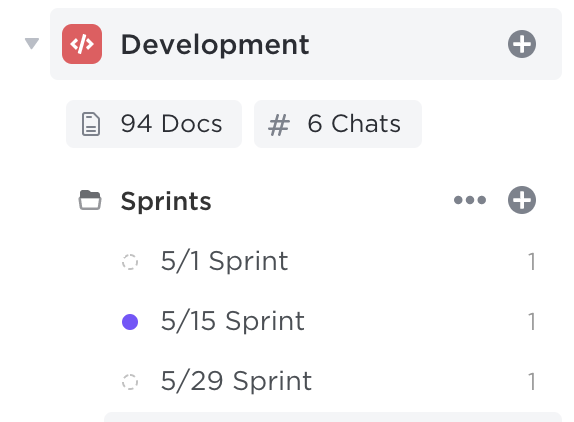 image of sidebar showing a Space, Sprints Folder, and Sprint Lists