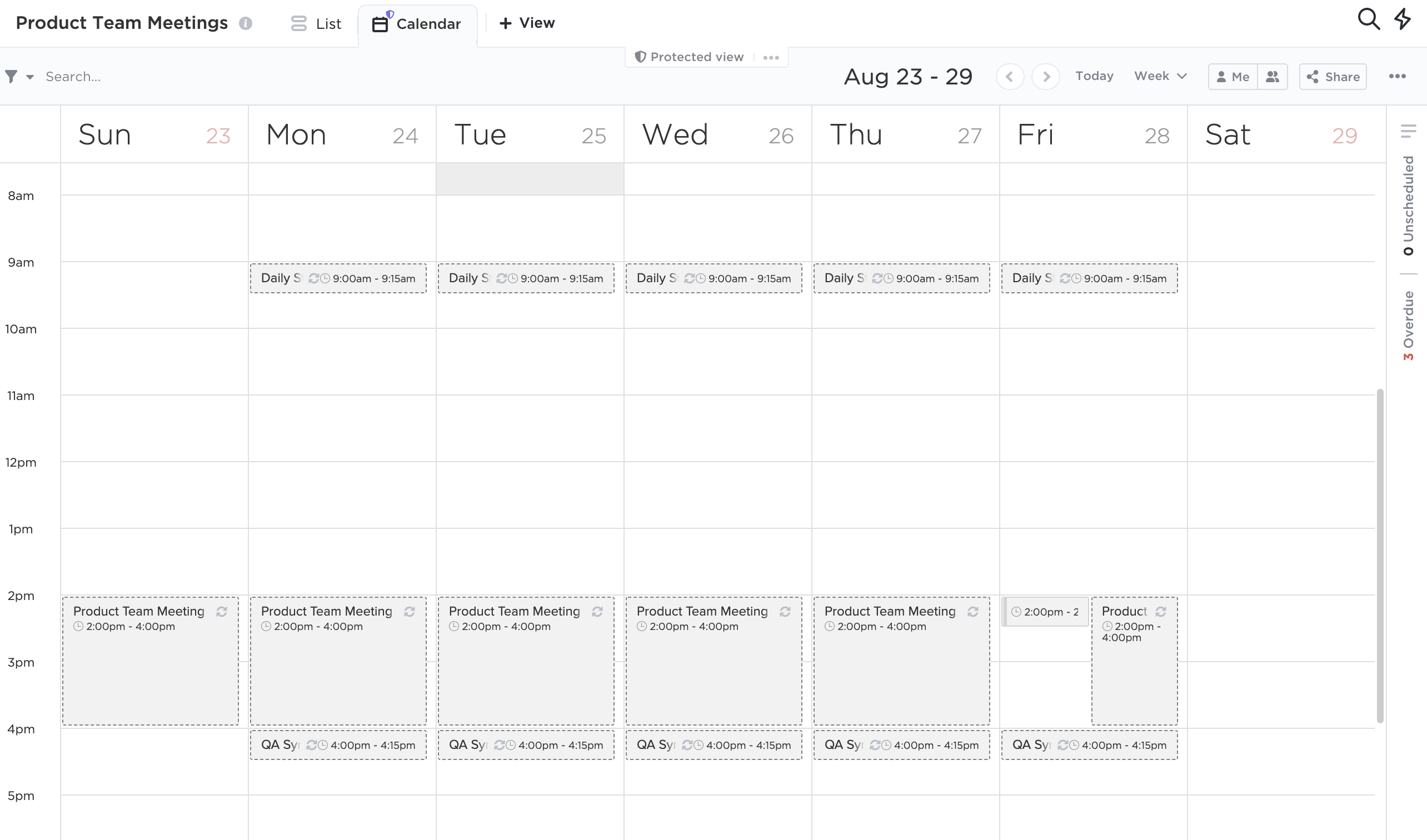 image of Calendar view showing a weekly perspective