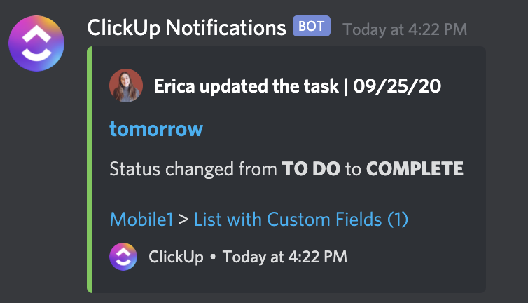 ClickUp Notifications in Discord