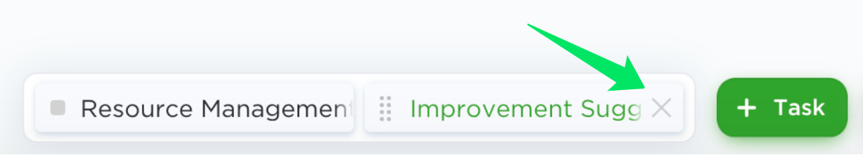 press the 'x' next to a task name to remove it from your tray