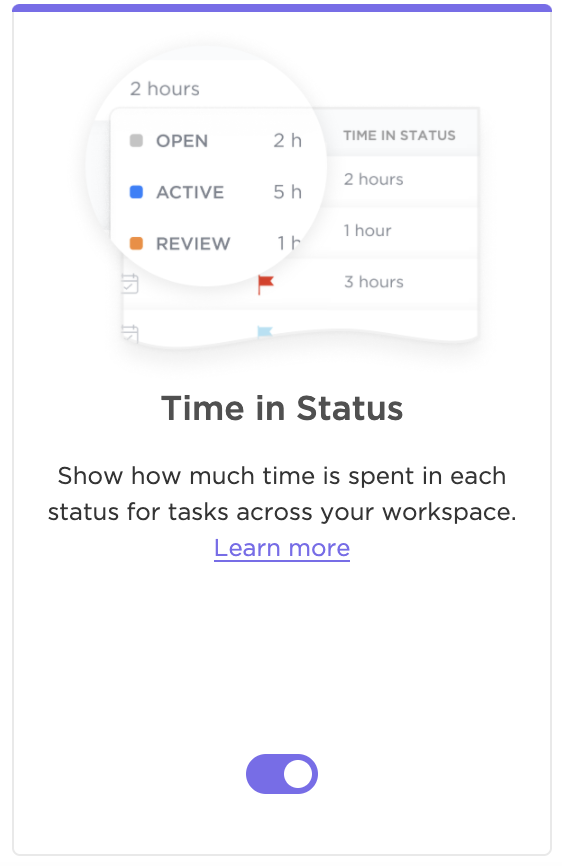 showing what the time in status clickapp looks like