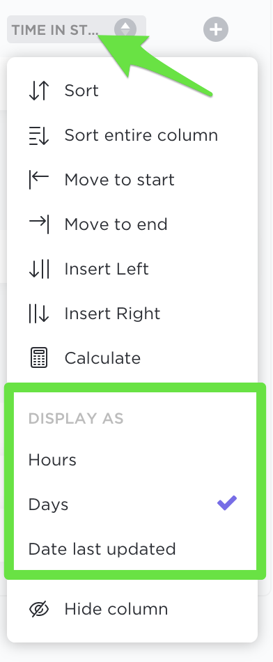 display time in status by hours, days, or date last updated