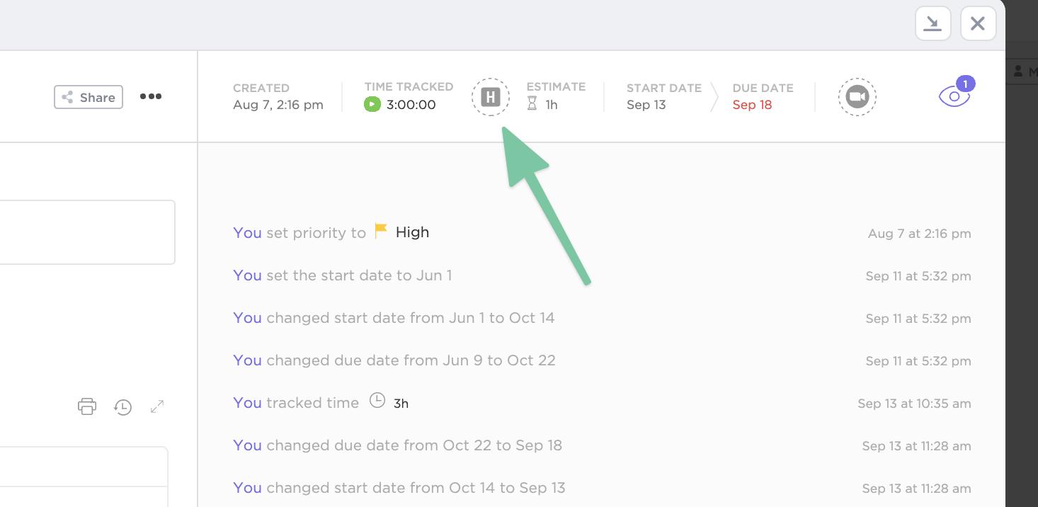 Click on the Harvest icon in between Time Tracked and Time Estimate
