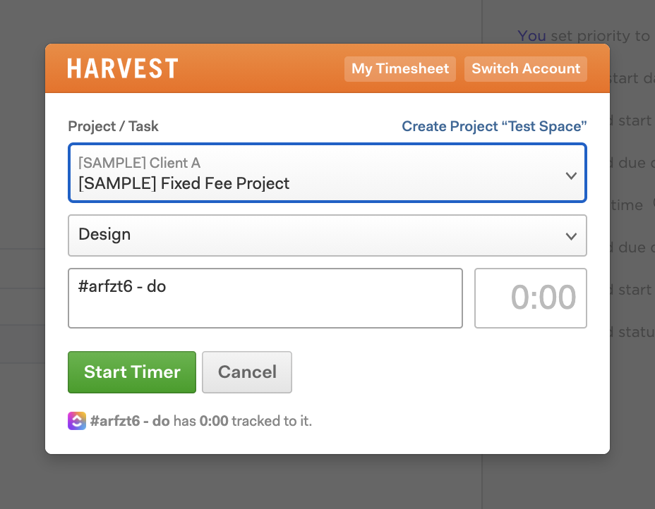 Choose a project in Harvest