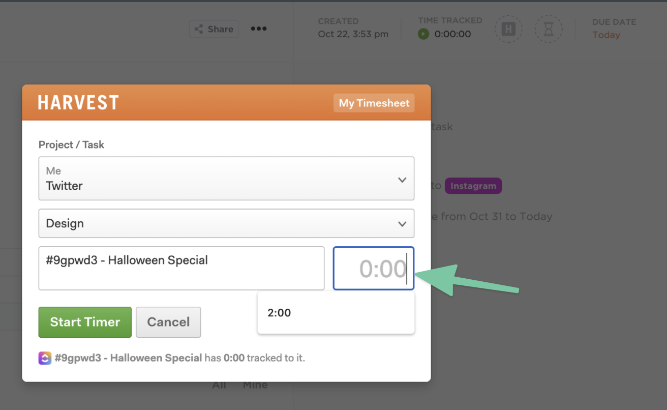 Manually edit your time in Harvest