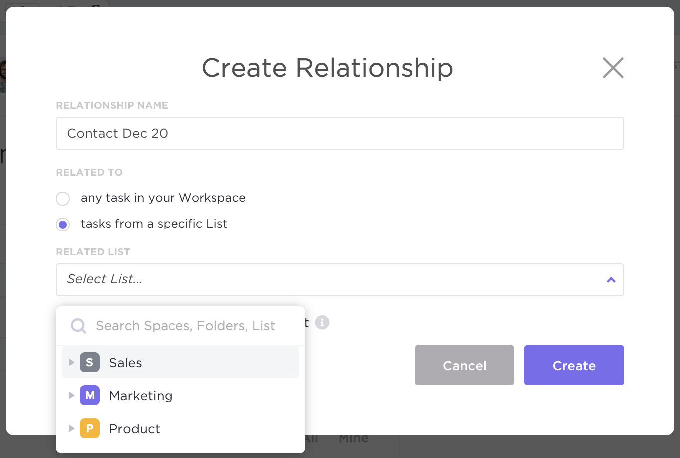 screenshot showing the create relationship modal and how to select a List