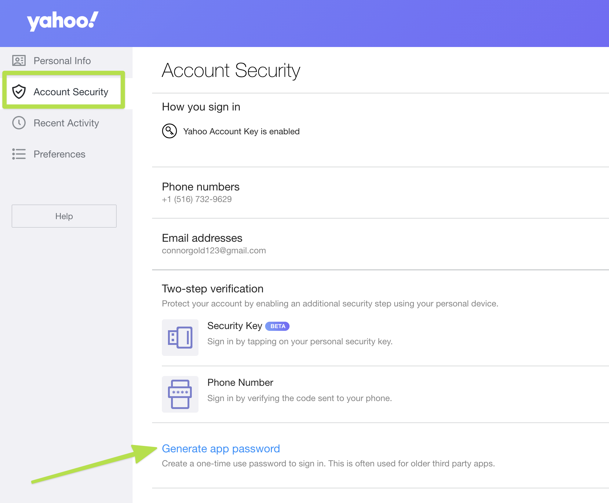 highlighting where to find password in Yahoo Account Security options