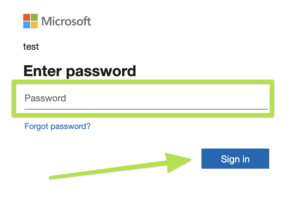 showing where to sign in to authorize the Microsoft account