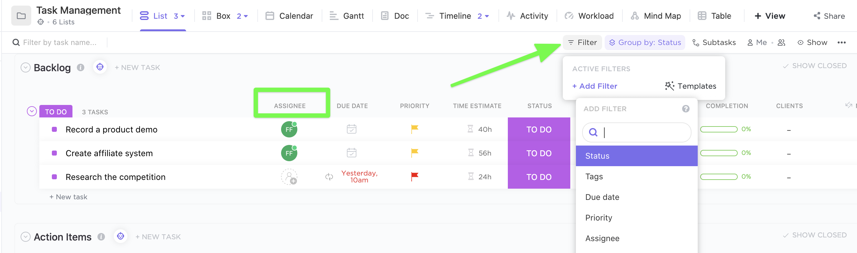 Filtering for assignees