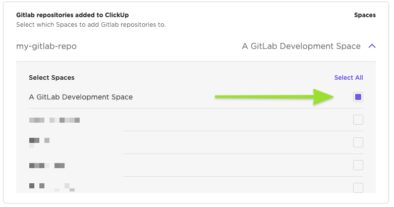 Gitlab repositories added to ClickUp and linked with a Space