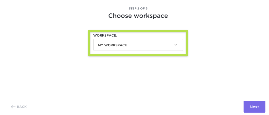 Screenshot of Step 2 of the import process to select an Asana Workspace