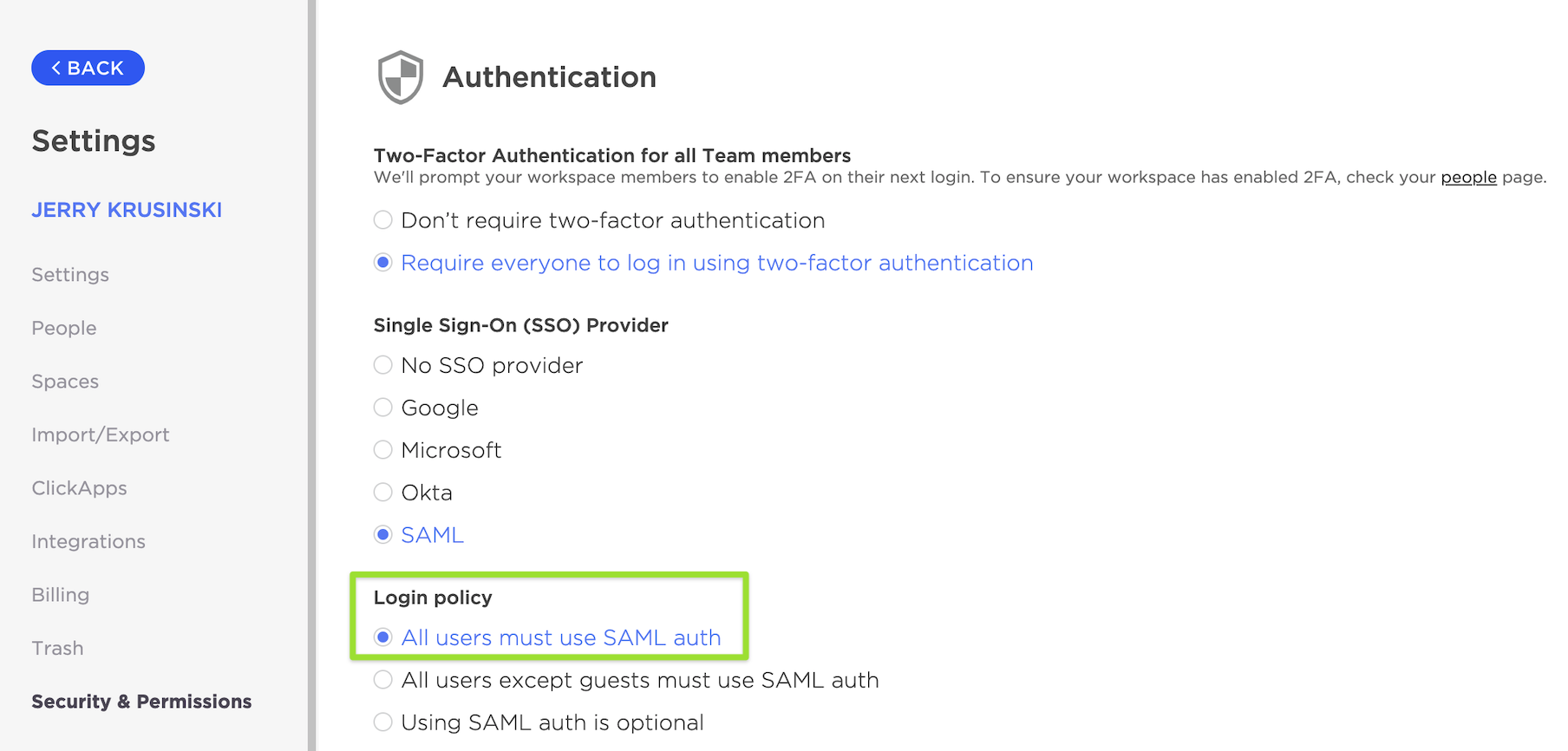Security & Permissions page highlighting the Login policy option to enforce SAML SSO for all users of the Workspace