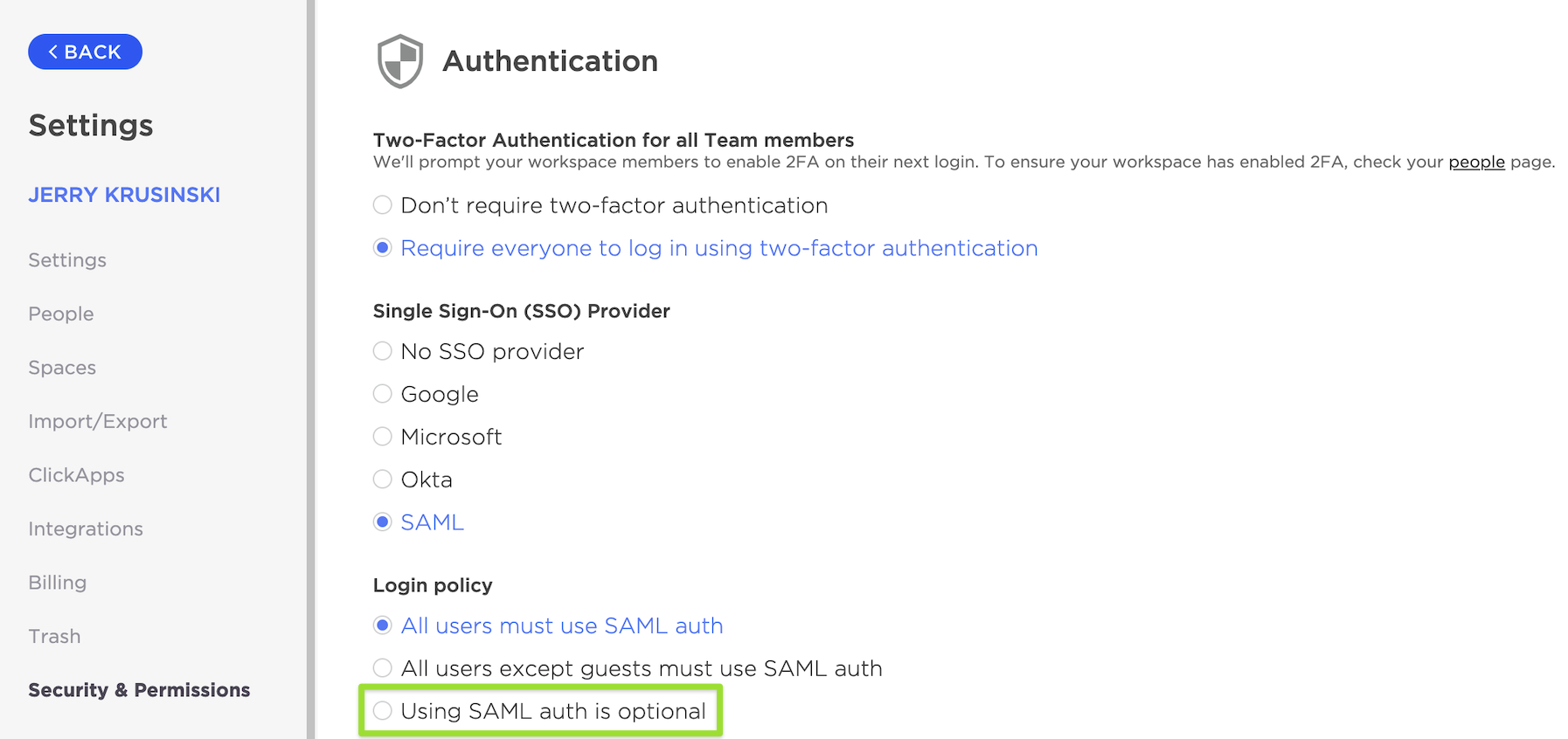 Security & Permissions page highlighting the option to set using SAML SSO as optional for users of your Workspace