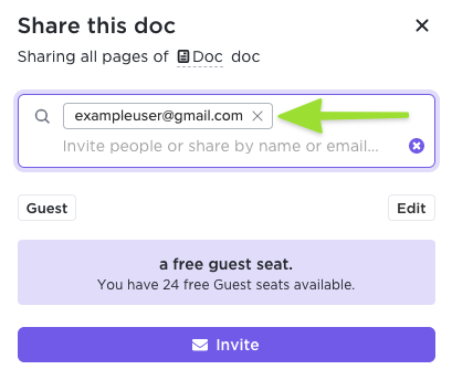 Screenshot showing how to invite a new guest by entering their email address