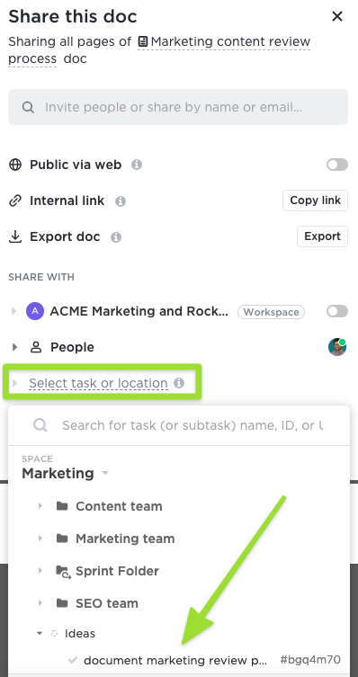 Screenshot of the sharing modal highlighting the option to share a Doc with a task