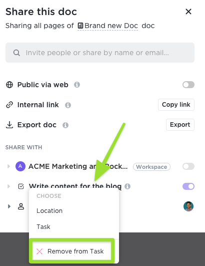Screenshot of the sharing modal highlighting the option to remove a Doc from a task