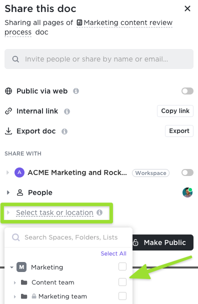 Screenshot of the sharing modal highlighting the option to share a Doc with a location