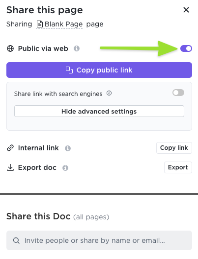 Screenshot of the sharing modal highlighting the toggle to share publicly via web and the advanced settings available