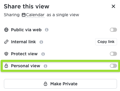 Screenshot of the sharing modal highlighting the option to convert the view into a personal view