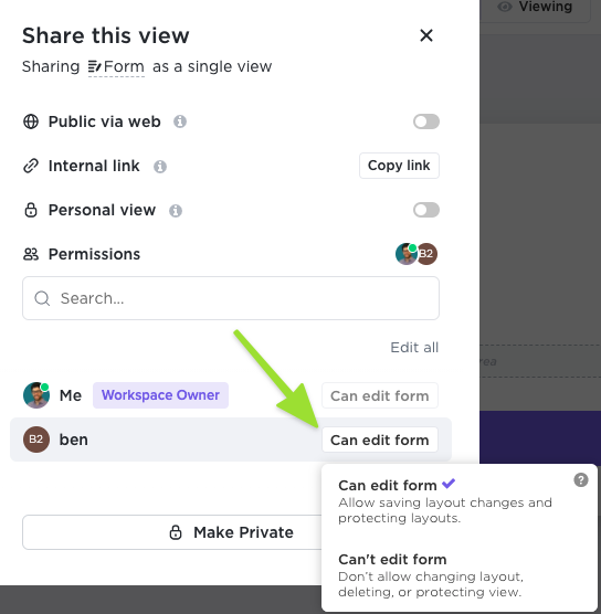 Screenshot of the sharing modal showing how to share with a specific member or guest and customize their permissions to the Form view