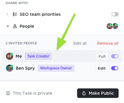 Screenshot of the sharing modal highlighting the task creator and Workspace owner badges which are displayed next to the person's name