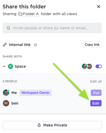 Screenshot of the sharing modal showing how to share a Folder with a specific member or guest and customize their permissions