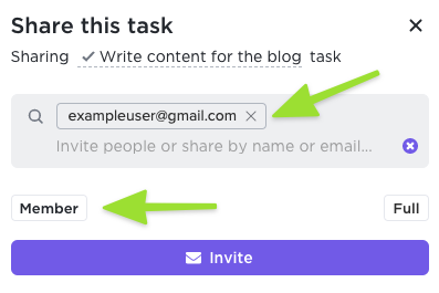 Screenshot showing how to invite a new member by entering their email address