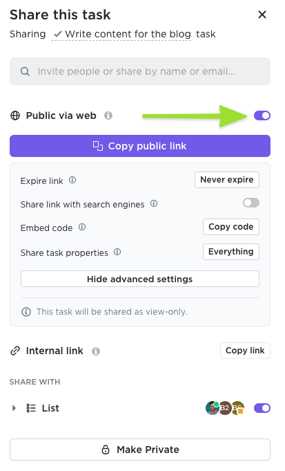 Screenshot of the sharing modal highlighting the toggle to share a task publicly via web and the advanced settings available