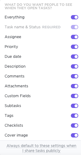 Screenshot of the options available to show/hide task information when a task is publicly shared via web