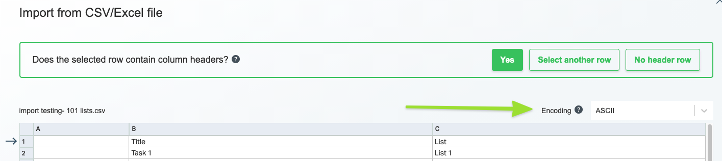 Screenshot of the column heading step of the import process