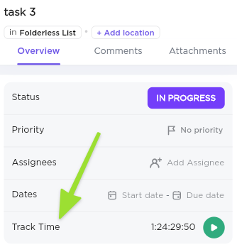 Screenshot from our Mobile App of the Track Time field on a specific task
