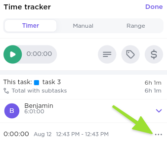 Screenshot from our Mobile App of the Time tracker window, highlighting the ellipsis button to edit a recent time entry