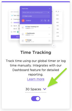 Screenshot of the Time Tracking ClickApp highlighting the option to select individual Spaces